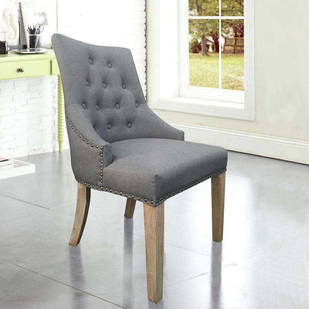 Home Accents Alliance Grey Linen Y Back Dining Chair With Copper Nails Set Of 2
