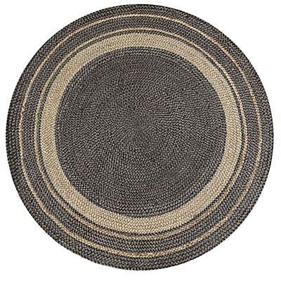 tapis rond en jute naturel et gris
