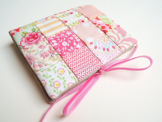 Needlecase  needle book in pink and peach by SewSweetViolet, £19.90