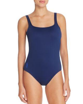 2515eb945f POLO RALPH LAUREN Solid Tank Scoop Back One Piece Swimsuit. #poloralphlauren  #cloth #swimsuit