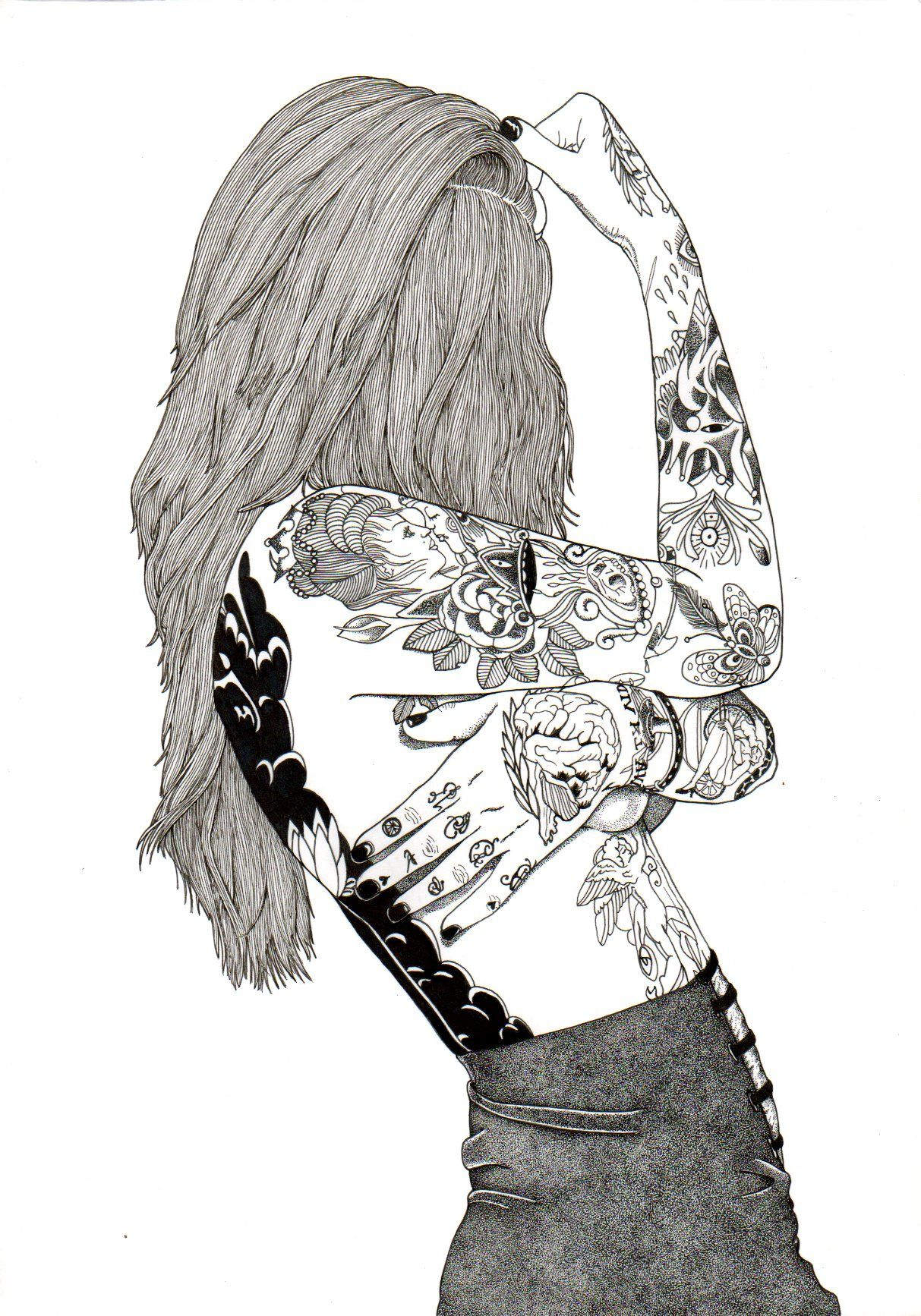 Tatou girls tatoued art art drawing drawing for Cool drawings tumblr