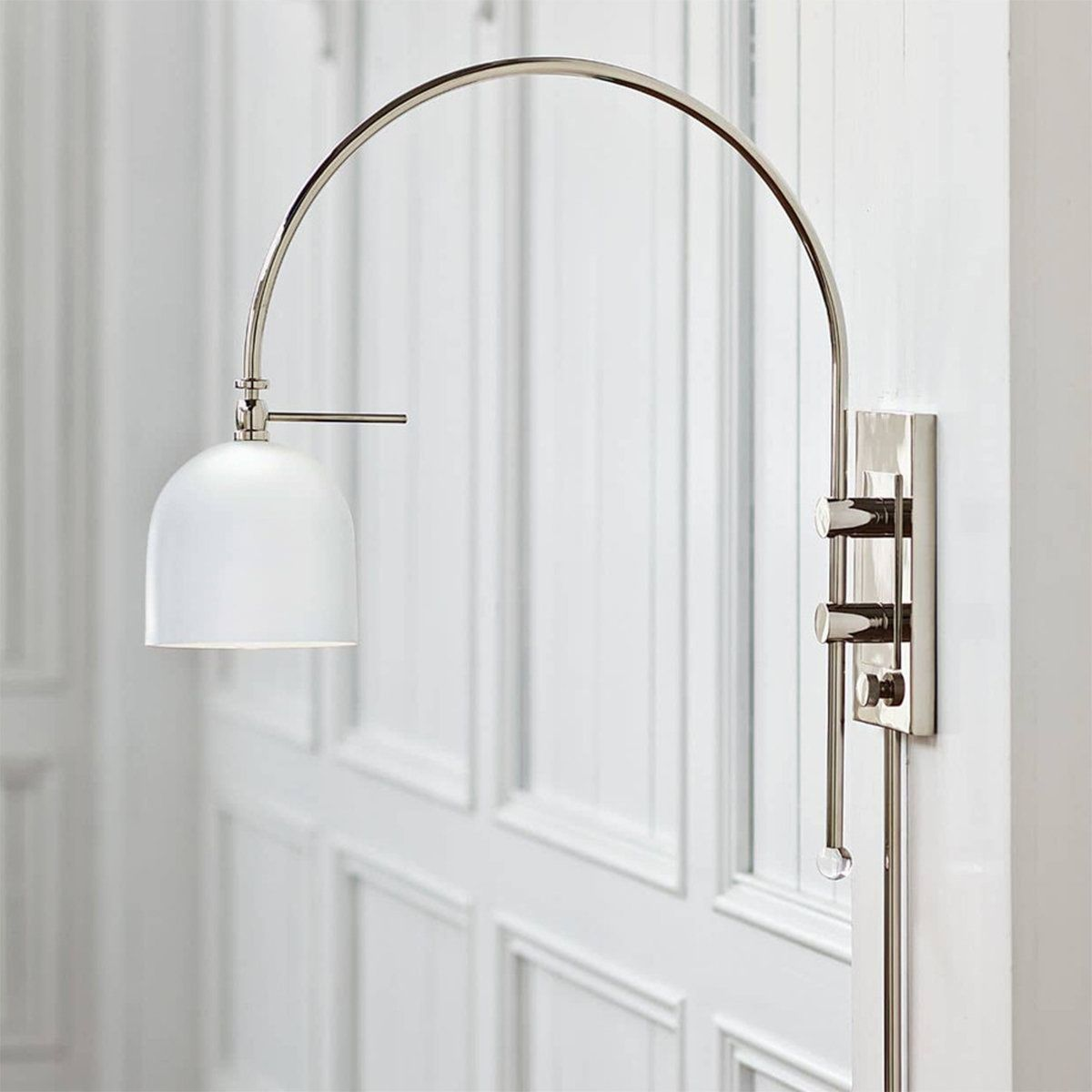 Arc Dome White Shade Modern Swing Arm Wall Light In 2021 Swing Arm Wall Lamps Swing Arm Wall Light Wall Light Shades