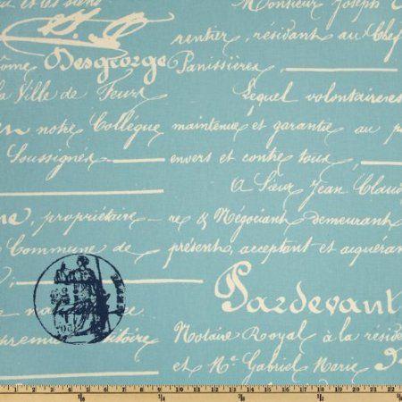 Amazon.com: Premier Prints Penmanship Village Blue/Natural Fabric: Arts, Crafts & Sewing