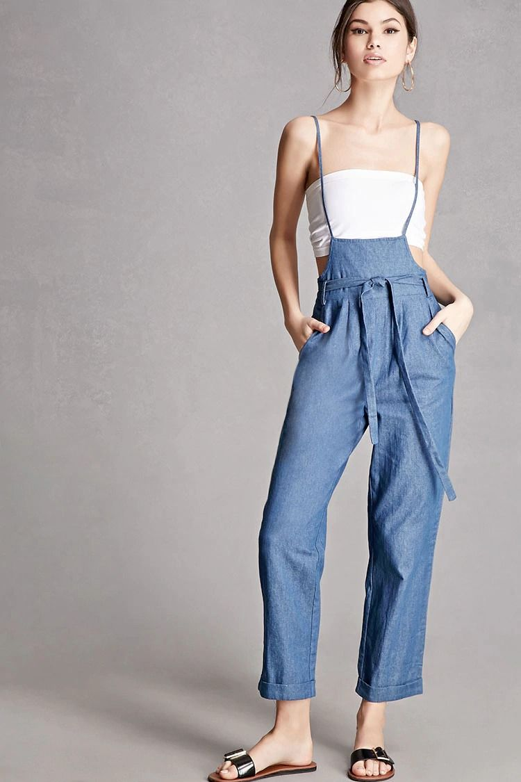 62f54e1a7e Soft denim overalls by English Factory™ featuring a low front bib,  adjustable cami straps