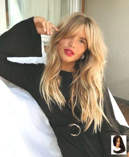 #Black #Black Hair with bangs #blonde #curtain #Dress #fringe #Woman blonde woman with curtain fringe and black dress blonde woman with curtain fringe and black dress #curtainfringe