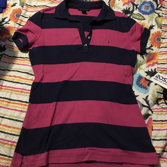 Hot pink and navy striped Tommy Hilfiger polo Cute and very soft striped Tommy Hilfiger polo in great condition Tommy Hilfiger Tops