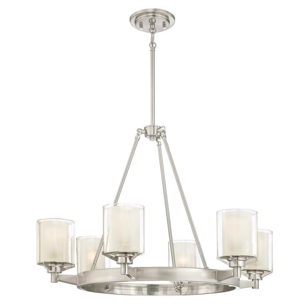 Westinghouse Glenford 6 Light Brushed Nickel Chandelier With