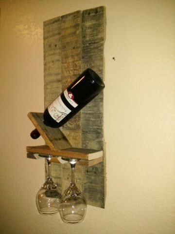 Modern pallet wine rack with glass holder perfect for smaller walls ...