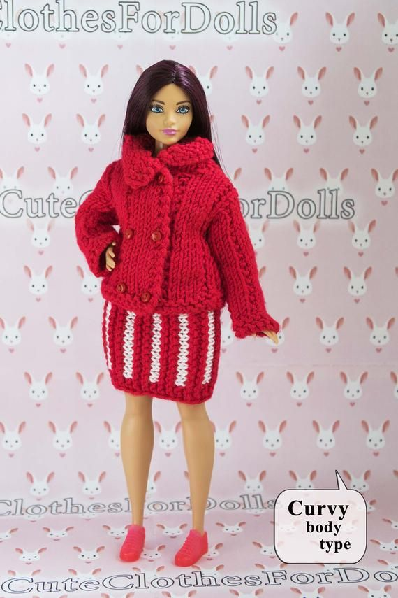 6a03907b56 Barbie clothes. Doll red jacket. Handmade red white knitted set jacket and  skirt warm outfit for cur