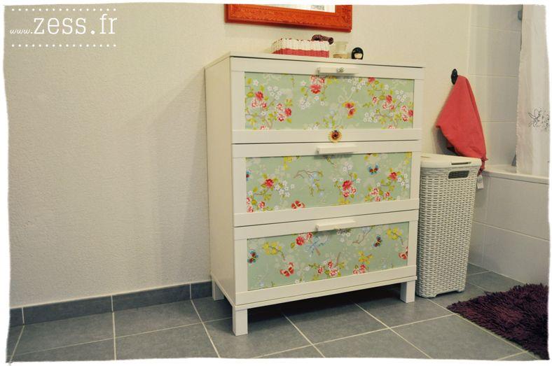 diy customiser une commode avec du papier peint. Black Bedroom Furniture Sets. Home Design Ideas