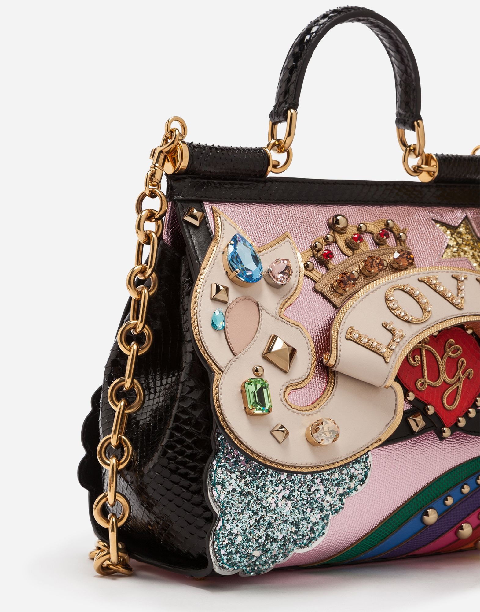 7cede6034585 Dolce Gabbana MEDIUM SICILY BAG IN A MIX OF MATERIALS WITH 3D PATCH AND  EMBROIDERIES