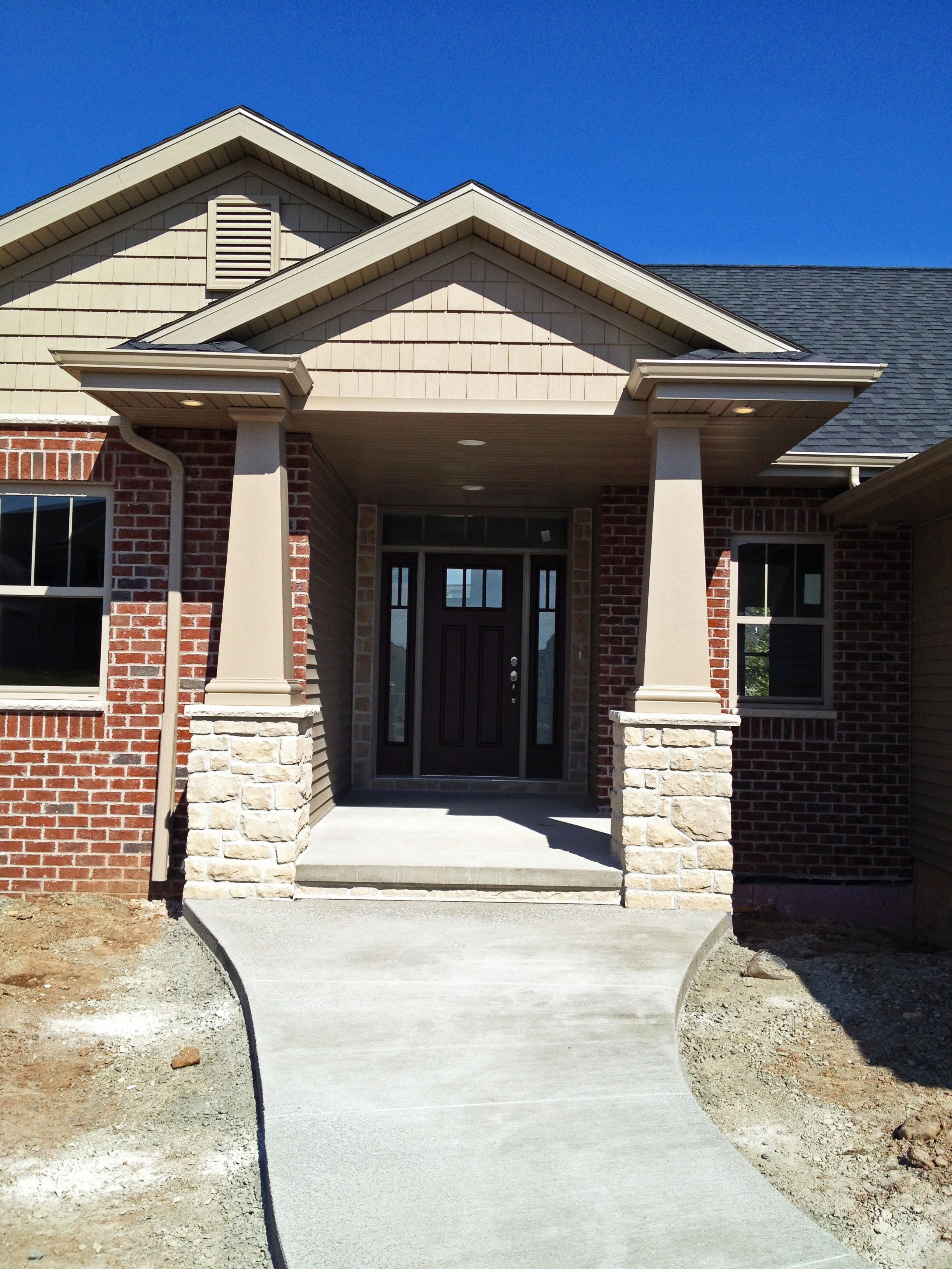 3264 #1C58AF  Front Door With Beautiful Masonry Work! Sageridge Model By Cypress pic Cypress Exterior Doors 45512448