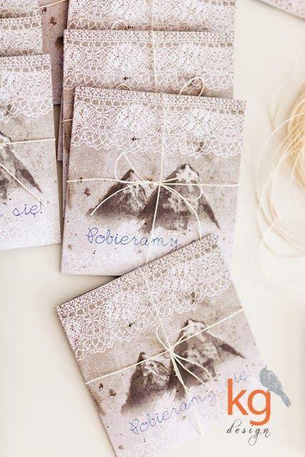 Zaproszenia Slubne Z Motywem Koronki I Gor Wiazane Sznurkiem Wedding Gift Wrapping Gifts