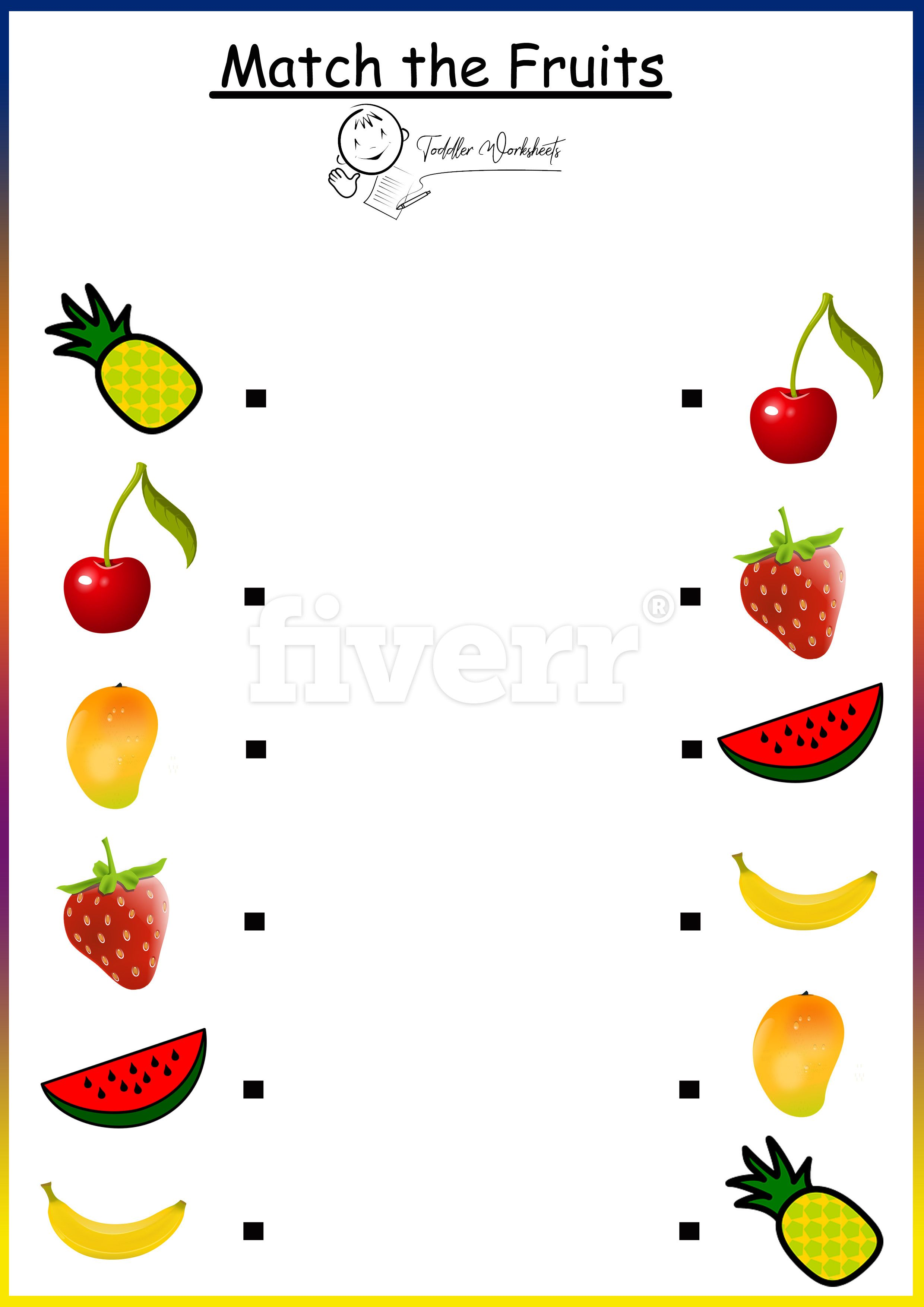 Preschool Free Worksheets Fruits