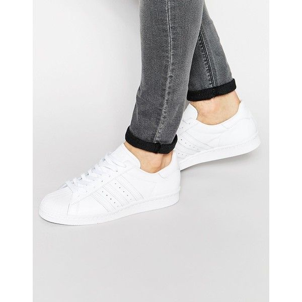 adidas Originals Superstar 80's Sneakers S79443 (€110) ❤ liked on Polyvore featuring men's fashion, men's shoes, men's sneakers en white