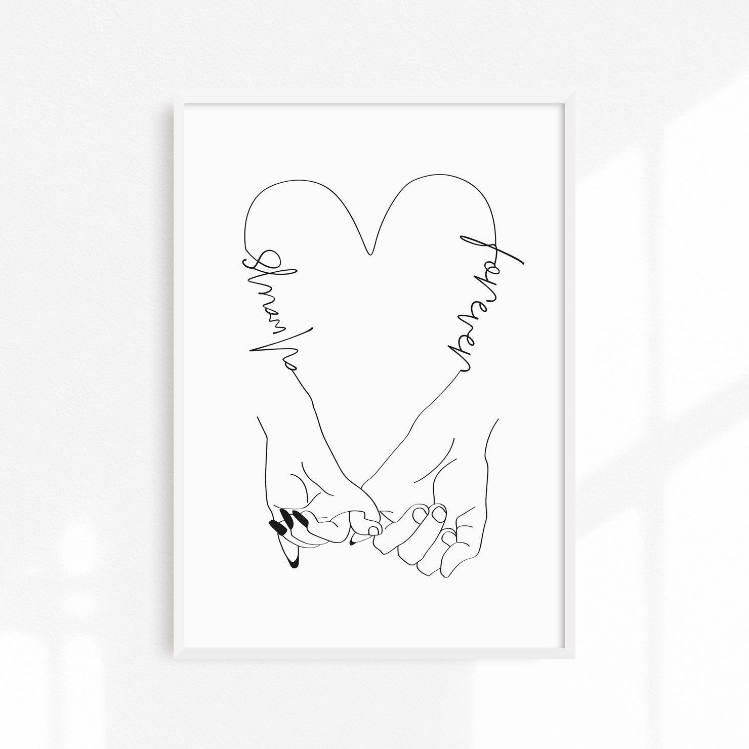 Pinky Promise Print/ Pinky Swear Heart Art/ Pinky Promise Drawing/ Love Pinky Swear/ Always & Forever/ Minimal Line Art/ Couple Love Heart