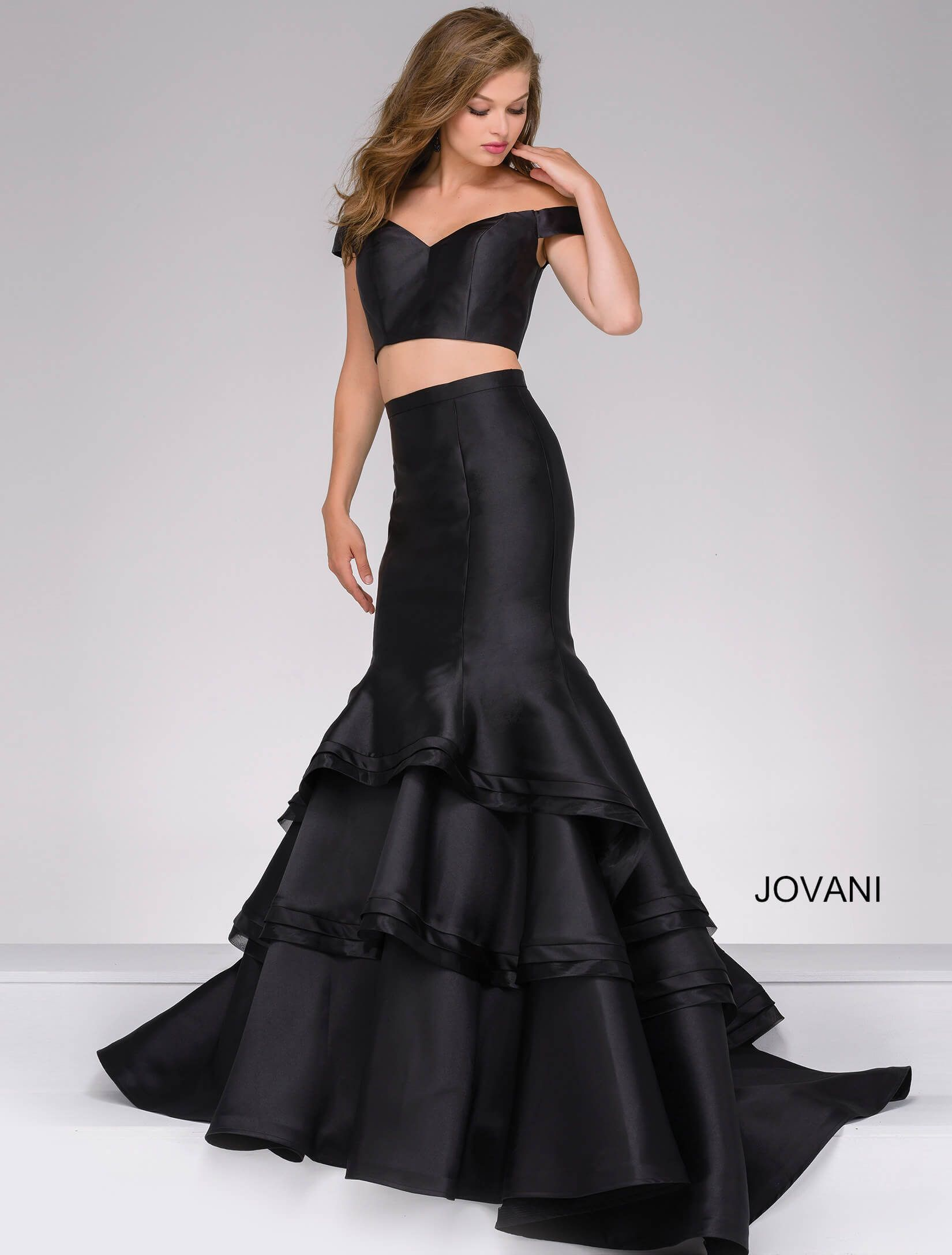 e586fe78328 JOVANI BLACK TWO-PIECE OFF THE SHOULDER PROM GOWN.  jovani  cloth ...