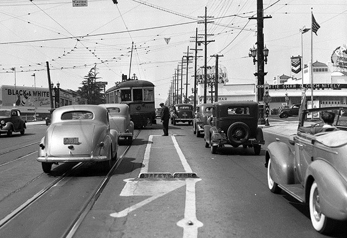 Four things that once made Los Angeles great: the Palomar Ballroom, a streetcar, a pedestrian safety zone and -- wait for it! -- a semaphore traffic signal! Ding! Ding! We have a winner!