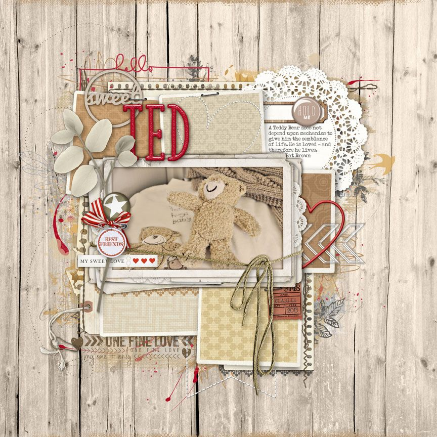 Saturday Scraplift Challenge with Designer Digitals. Hello Sweet Ted. All products from Designer Digitals.