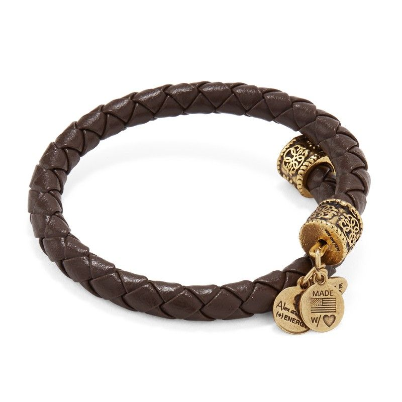 Alex And Ani Braided Leather Wrap Bracelet In Brown 28