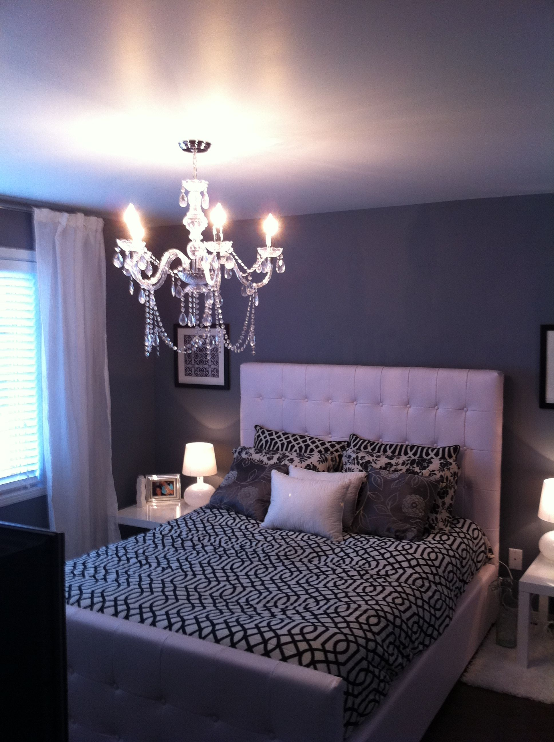Black and white - Crystal chandelier - #modern bedroom for ...