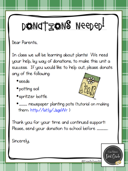 Seed to Plant Donation Letter Letter to parents