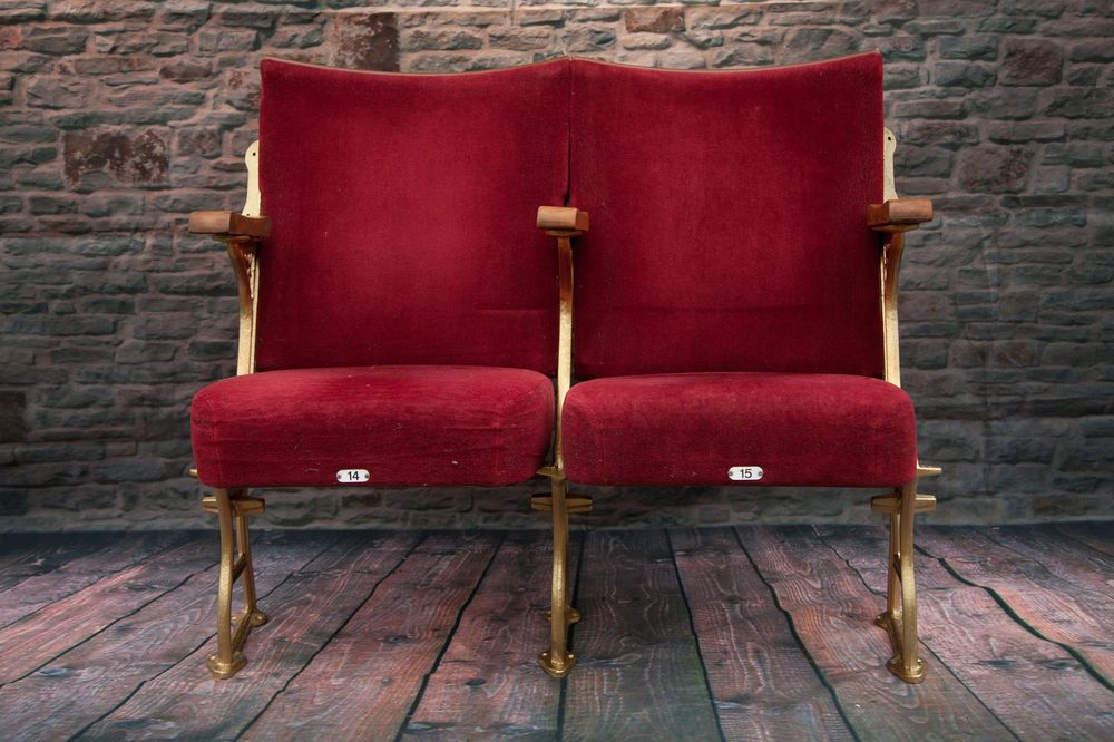 2 Vintage Red Velour Cinema Theatre Seats Chairs Shabby Chic Cinema Chairs Theater Seating World Market Dining Chairs