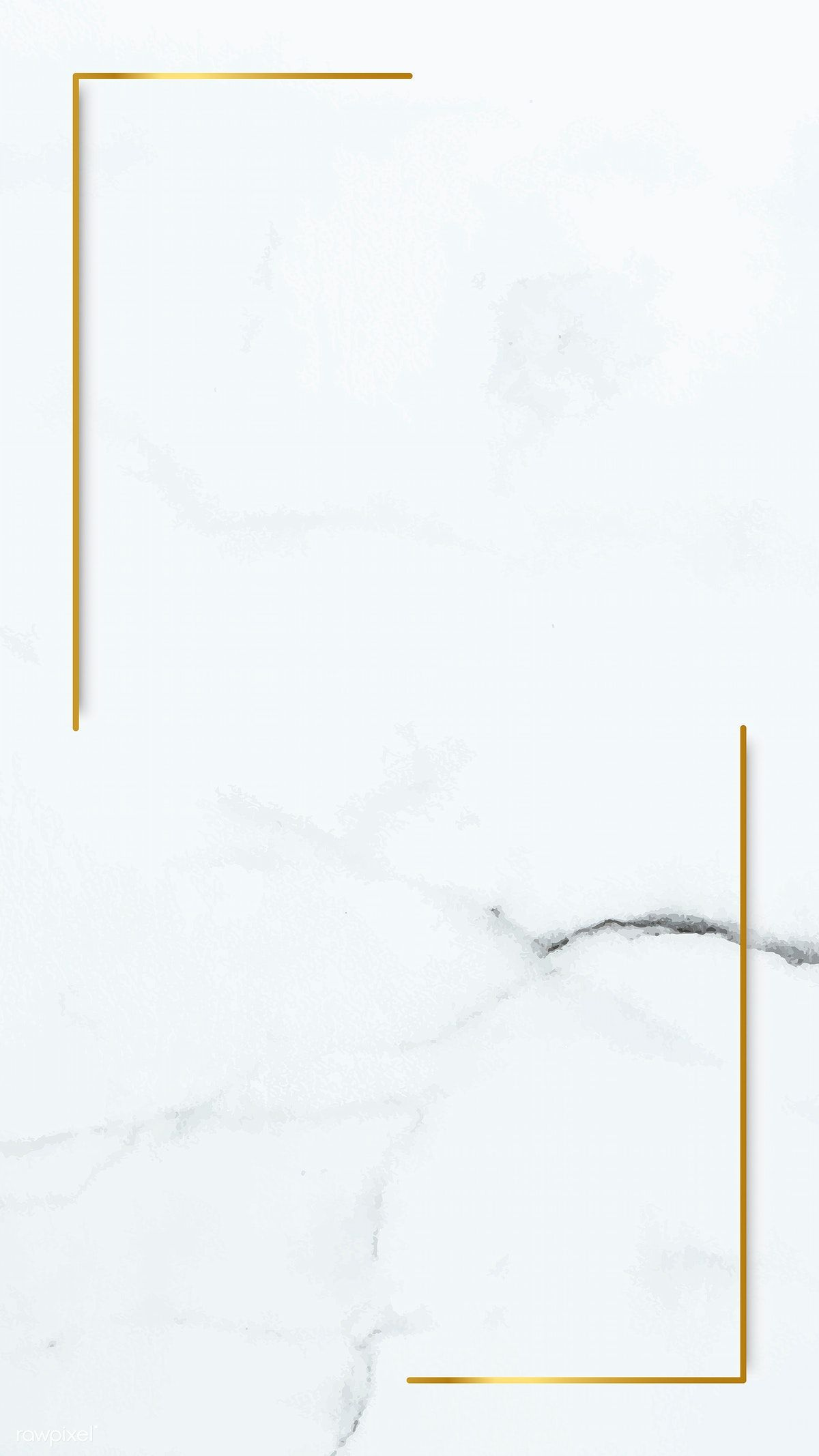 Download premium vector of Rectangle gold frame on white marble mobile