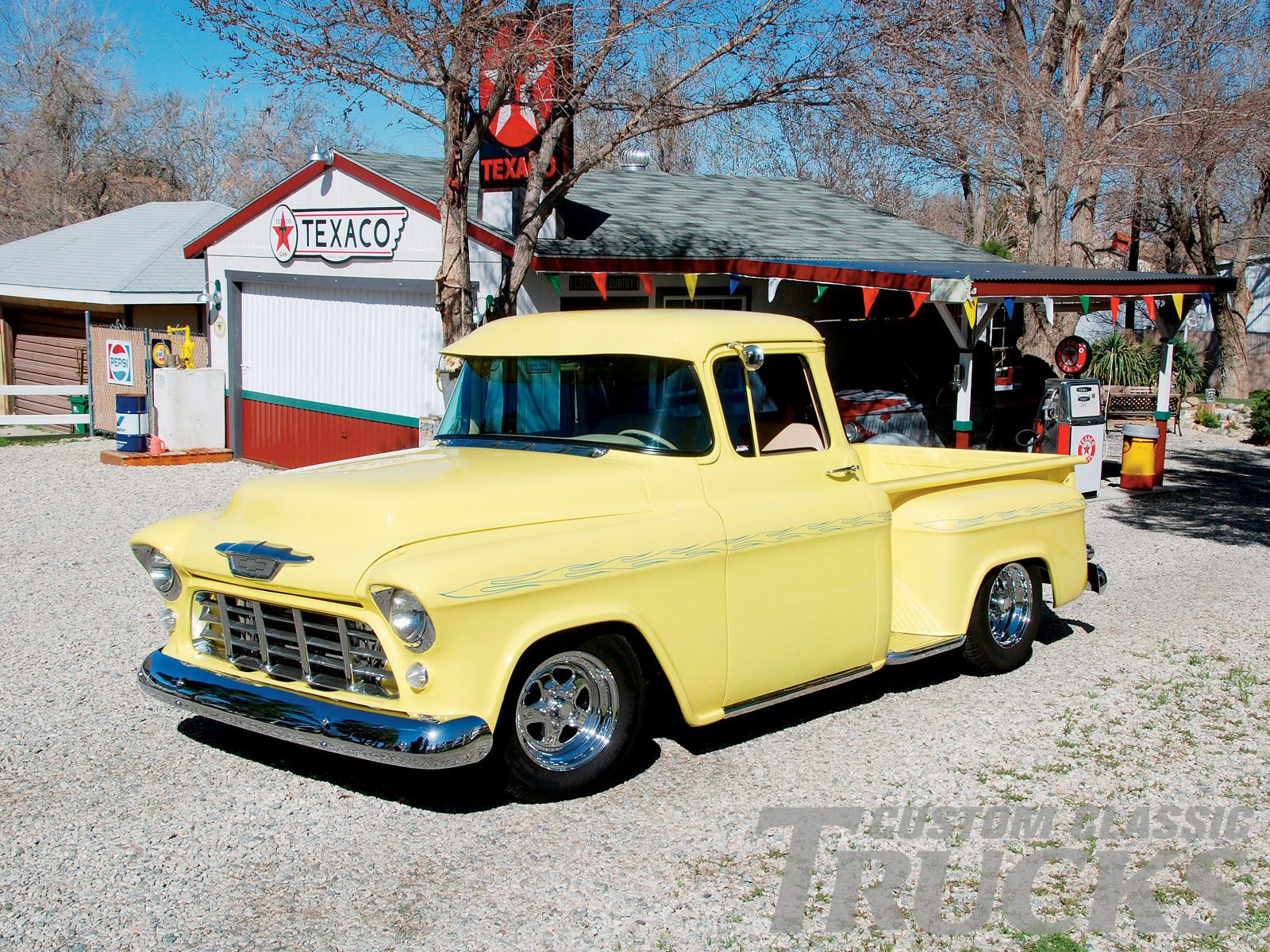 1955 chevrolet hot rod truck pictures to pin on pinterest - 1955 S Chevy Stepside Yellow Truck 1955 Chevy Pickup Truck Front Grill
