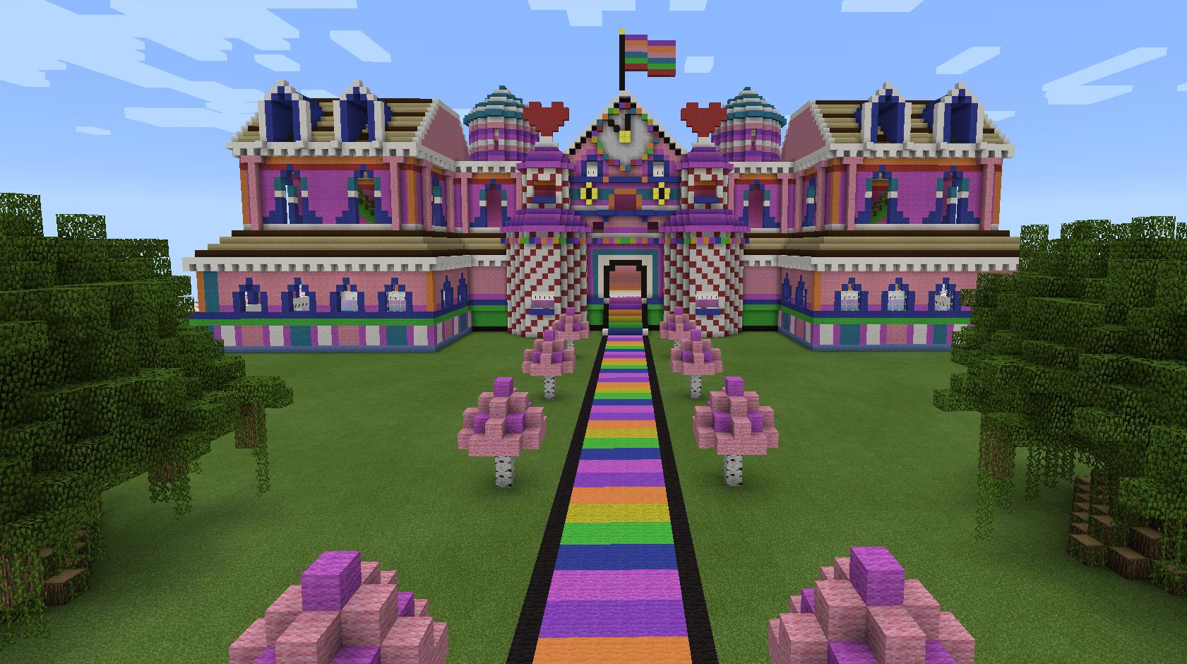 Minecraft Rainbow Candy Pink House | Minecraft houses ...