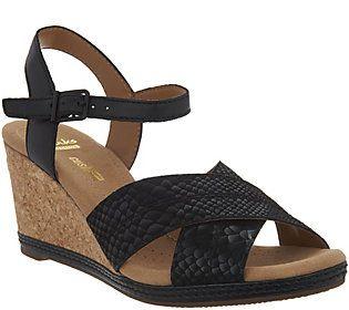 f982cd7e6ec7a0 Clarks Leather Cork Wedge Sandals - Helio Latitude