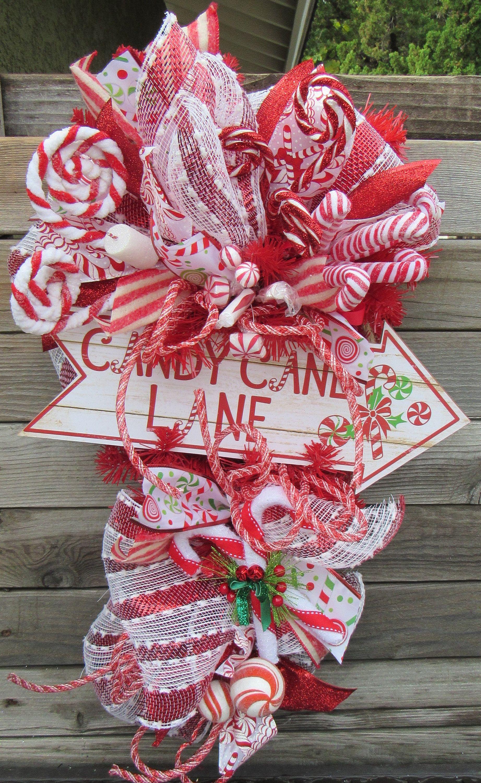 Candy Cane Lane Wreath Christmas Door Decor Candy Cane