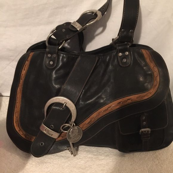 827632a5db47 Large Christian Dior Gaucho Saddle Bag GORGEOUS This is a 100% authentic Christian  Dior leather Gaucho Saddle Bag in black and tan. Made in Italy.