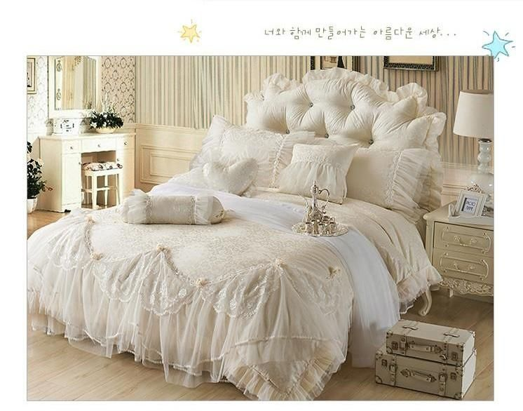 2016 Luxury Jacquard Princess Bedding Sets Queen King Beige Lace Ruffles Duvet Cover Bedspread Bed Skirt Bedclothes Cotton Home Textile From Whq1981 149 25 Bedding Sets Luxury Bedding Queen Bedding Sets
