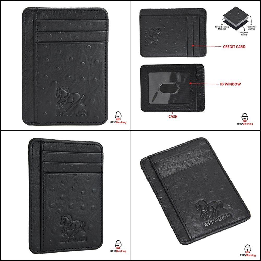 Estalon Men/'s Trifold Wallet Leather Brown Hunter Slim RFID Block 7 Card Slots