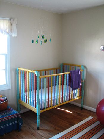 Rainbow painted crib - Use non-toxic, baby-safe Lullaby ...