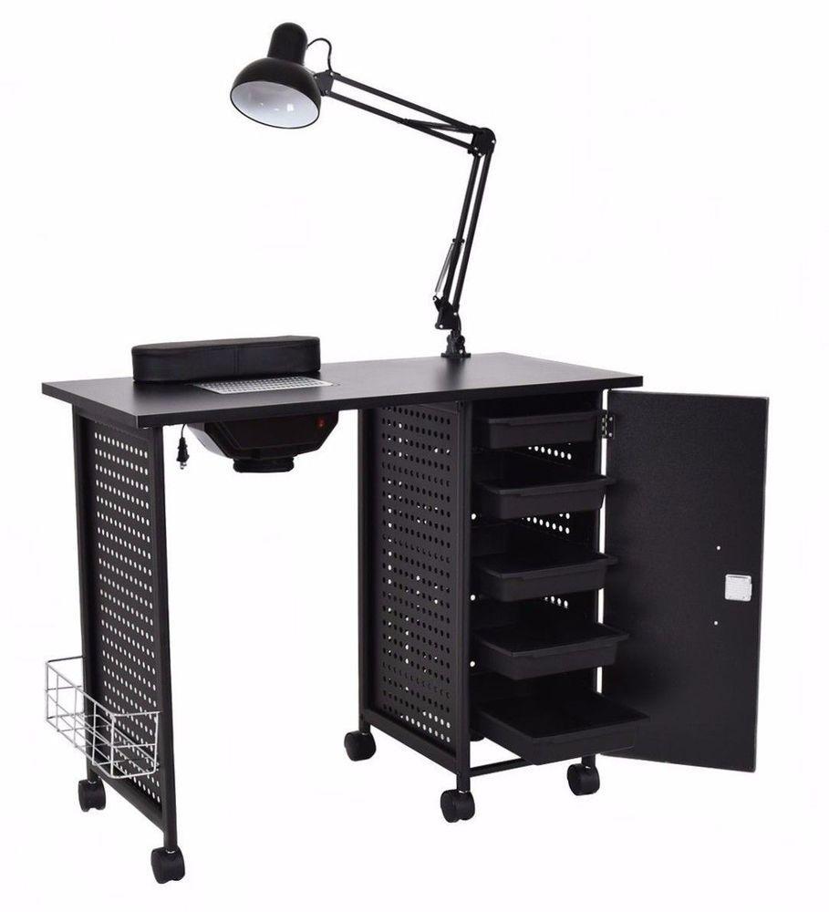 Black Steel Frame Vented Manicure Nail Table Desk Station Spa Salon ...