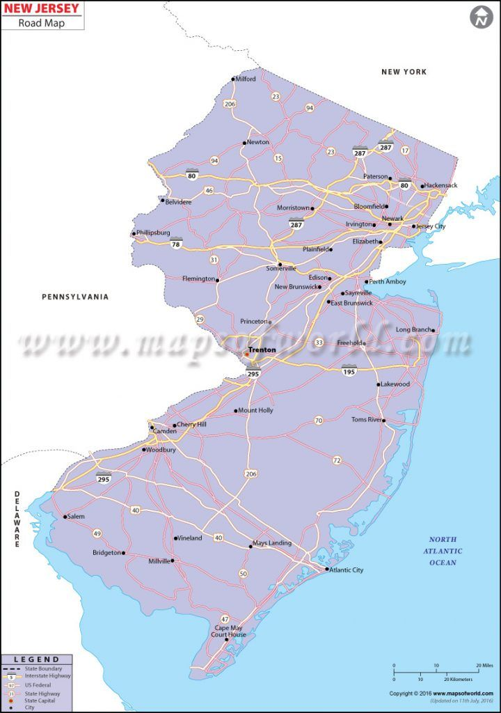 New Jersey Road Map With Images Roadmap Wall Maps New Jersey