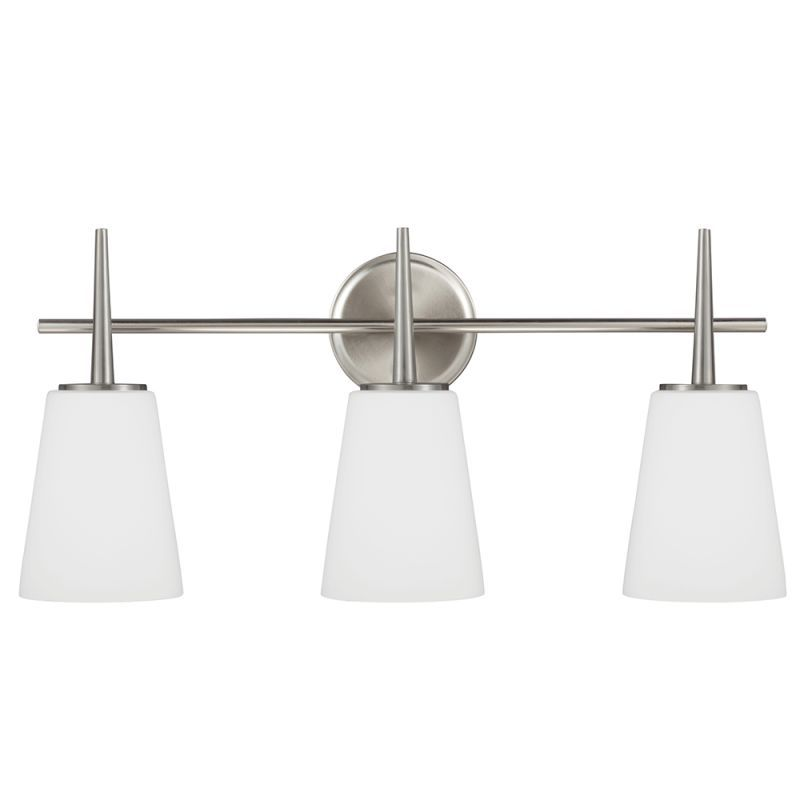 Sea gull lighting 4440403 driscoll 3 light bathroom vanity light brushed nickel indoor lighting bathroom fixtures