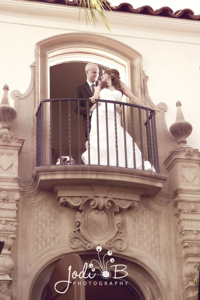 Getting my husband up on the balcony was worth the shot! Muckenthaler mansion wedding photography. Fullerton, CA