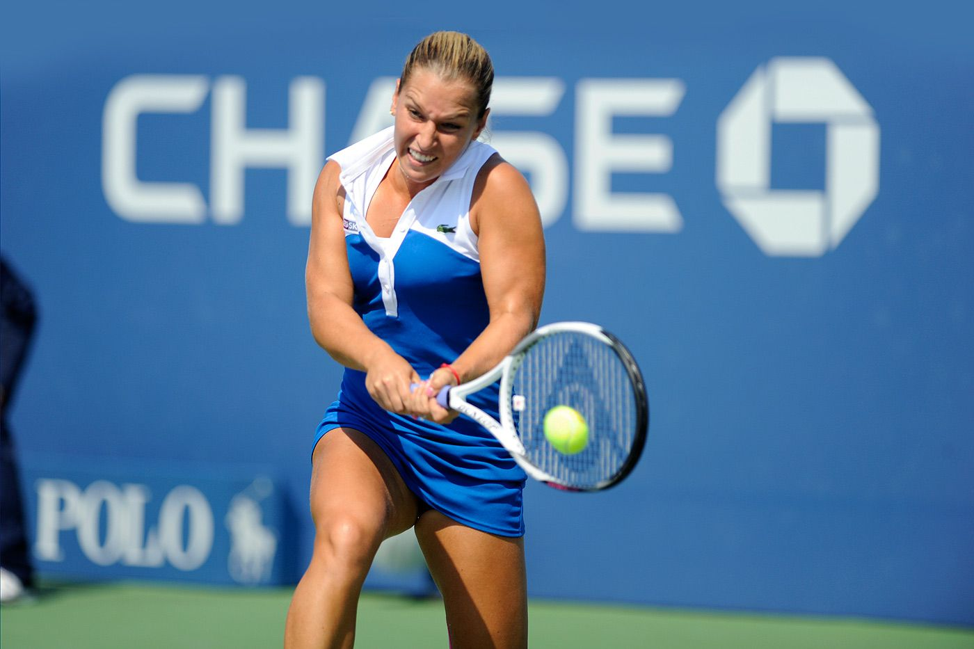 Tennis Player Dominika Cibulkova Ranked No 12 Shows Off Her Two Handed Backhand Tennis Players Tennis Professional Tennis Players