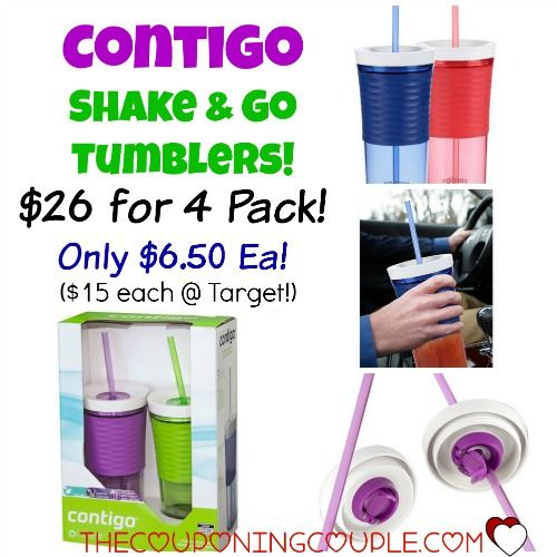 CHEAP CONTIGO TUMBLERS!  Get a 4 Pack of Contigo Shake & Go Tumblers for only $26! That is only $6.50 each! You won't find a better price! (They are $15 each at Target!)  Click the link below to get all of the details ► http://www.thecouponingcouple.com/wow-contigo-shake-go-tumblers-only-6-50-ea/  #Coupons #Couponing #CouponCommunity  Visit us at http://www.thecouponingcouple.com for more great posts!