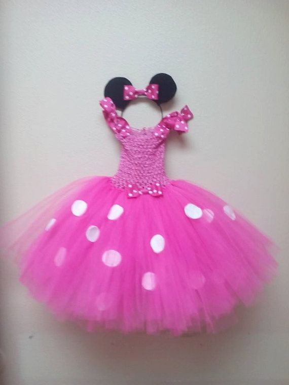 7e0be92e0 Toddler girls pink or red Minnie Mouse tutu dress with ears. (2t to 4t)