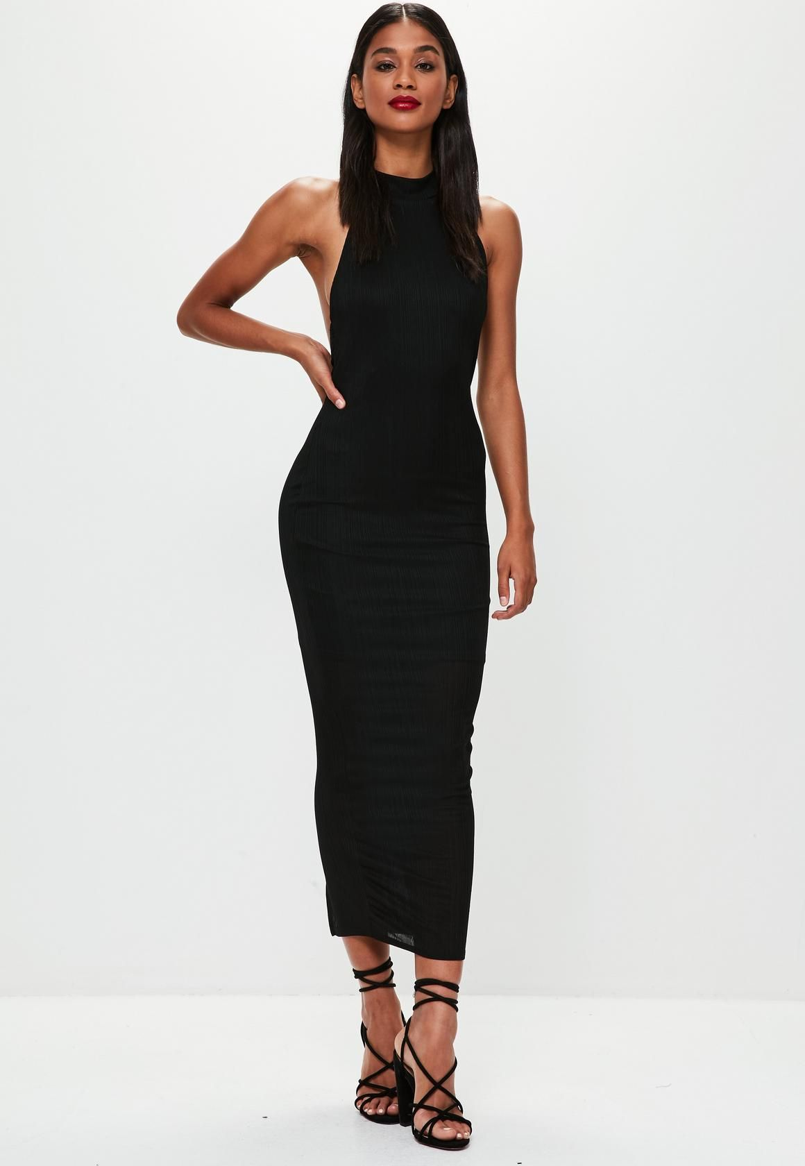 c1ac5fb066 Missguided - Black High Neck Low Back Maxi Dress