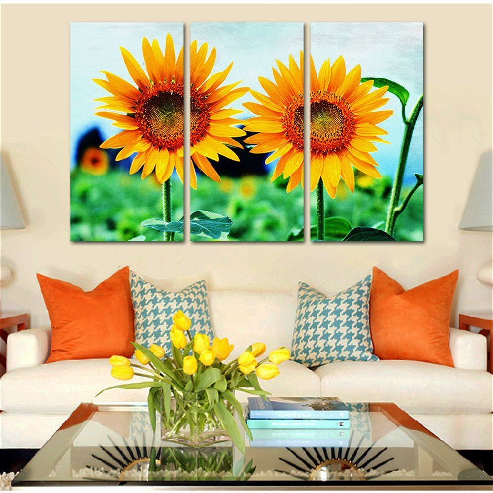 Sunflower Home Decor Wholesale Drop Shipping Canvas Painting Sunflower Landscape Modern