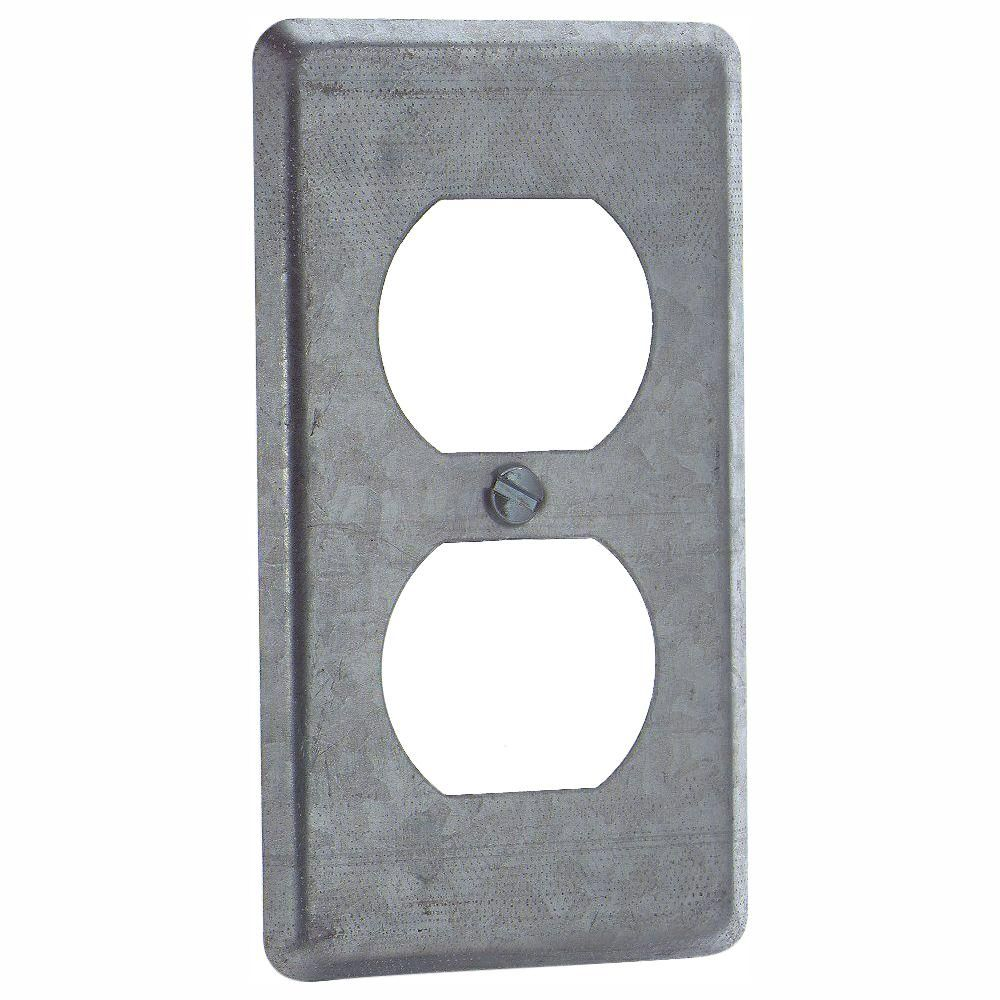 Zinc Plated 1 Duplex Toggle Switch Outlet Electrical Box Cover Gray