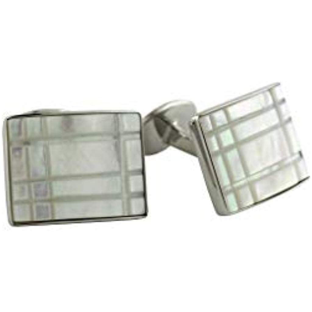 Stainless Steel Mother of Pearl Square Cuff Links