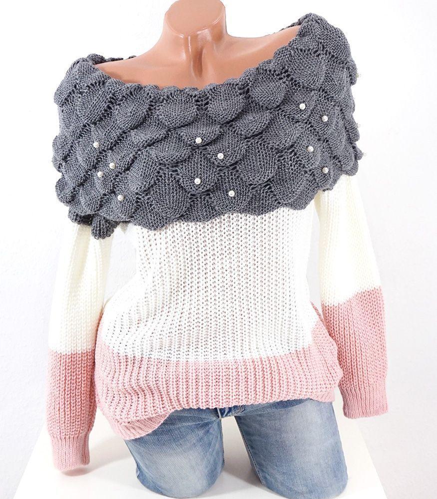 buy popular 322b1 663a2 Damen Strick Pullover mit XXL Kragen und Perlen #shopping ...