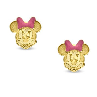 14K Gold Minnie Mouse Piercing Earrings - PAGODA.COM ...