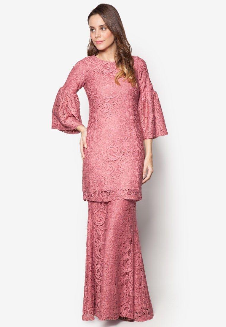 Baju Kurung Lace 3d Pearl Yasmine Merlin Maroon Muslimahclothing Com
